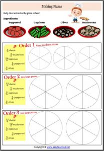 improper fractions unlike pizzas worksheet