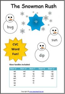 cvc word game snowman rush