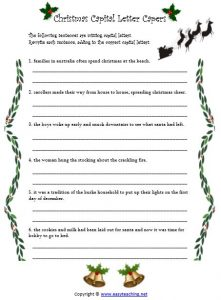christmas worksheets capital letters