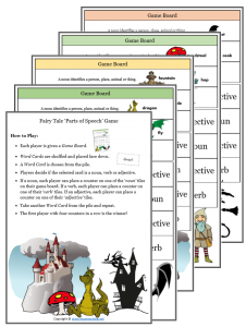 nouns verbs adjectives game fairy tale parts of speech