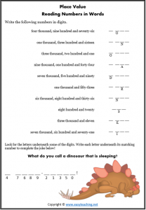 reading number words riddle joke worksheet place value