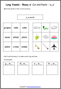bossy e cut and paste long a worksheet