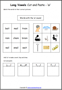 ai cut and paste long vowel worksheet long vowel