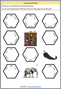 antonyms puzzle hexagonal grade 3 grade 4 fun