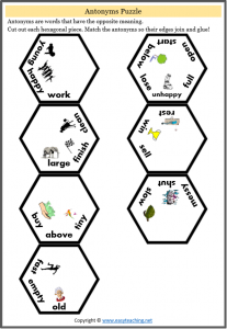 antonyms puzzle hexagonal grade 1 grade 2 fun