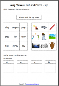 ay cut and paste long vowel worksheet long vowel