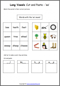 ee cut and paste long vowel worksheet long vowel