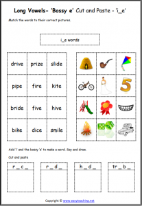 i bossy e cut and paste long a worksheet