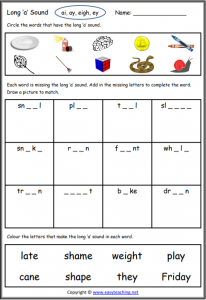 long a worksheet long vowel worksheets