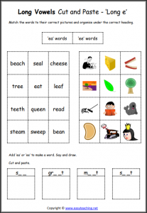 long e cut and paste worksheet long vowel worksheets