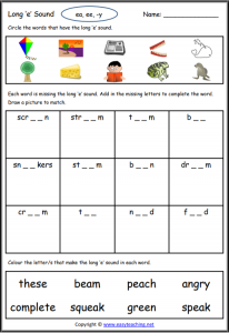 long e worksheet long vowel worksheets