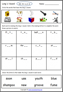 long u worksheet long vowel worksheets
