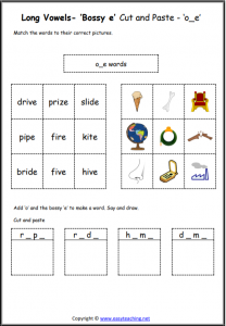 o bossy e cut and paste long a worksheet