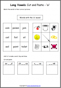 oi cut and paste worksheet long vowel sounds