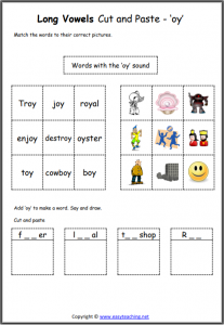 oy cut and paste worksheet long vowel sounds