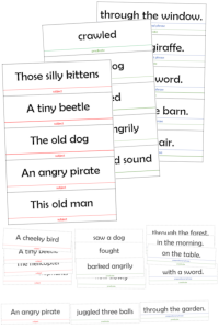 parts of speech puzzle build sentences subject predicate
