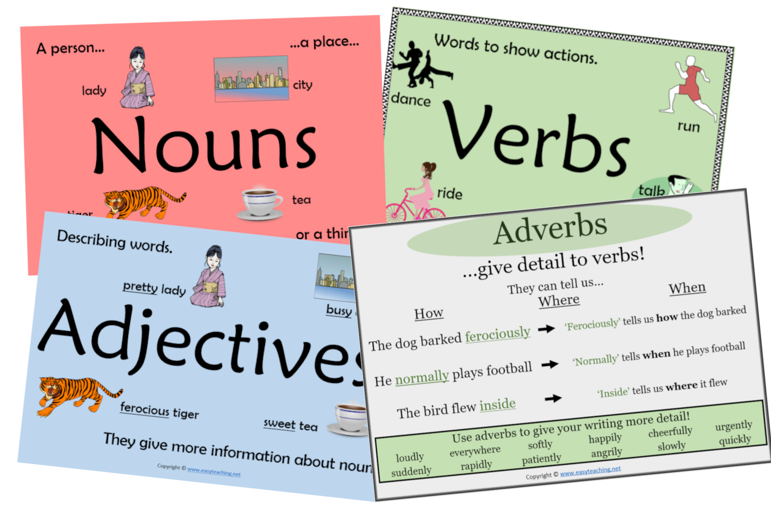 Parts of Speech: Nouns, Verbs, Adjectives Worksheets