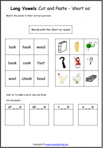 short oo cut and paste vowel worksheet