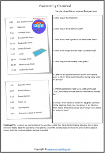 reading timetable swimming carnival timetables worksheet