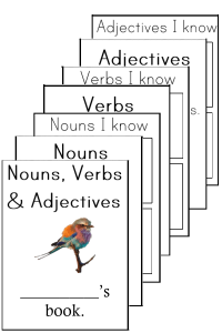 nouns verbs adjectives booklets folding booklet parts of speech