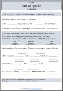 picture regarding Part of Speech Quiz Printable titled Pieces of Speech: Nouns, Verbs, Adjectives Worksheets