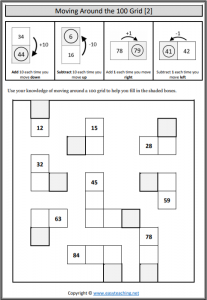 hundred grid worksheets moving around
