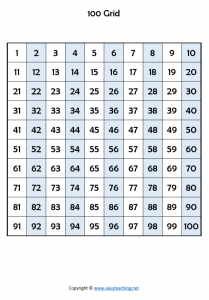 hundred board printables 100 board hundred grid