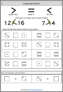 comparing numbers dice worksheet comparing numbers worksheets