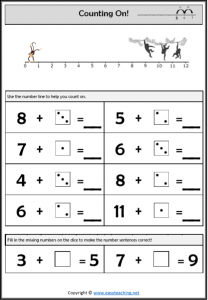 counting on worksheet easy number line