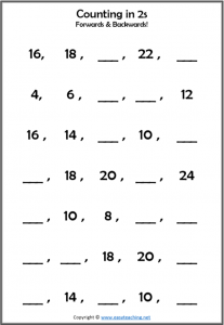 2s counting worksheet