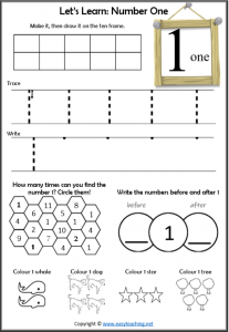 number 1 worksheet introduction learn about number 1 learning numbers worksheets