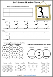 number 3 worksheet introduction learn about number 3
