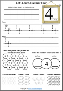 recognising numbers number 4 worksheet introduction learn about number 4