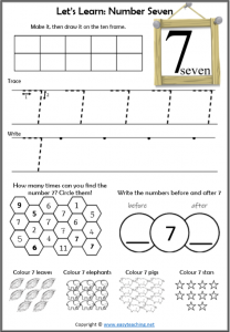 learning numbers number 7 worksheet introduction learn about number 7