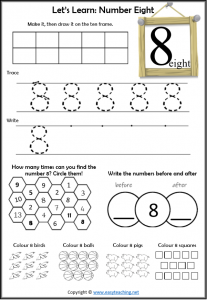 learning numbers number 8 worksheet introduction learn about number 8