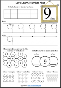 learning numbers number 9 worksheet introduction learn about number 9