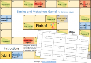 similes metaphors game printable