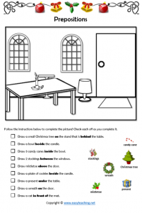 christmas grammar worksheets prepositions
