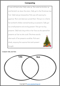 compare contrast reading passages christmas worksheet strategy comparing
