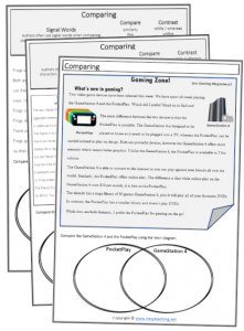 compare contrast comparing reading strategy worksheets