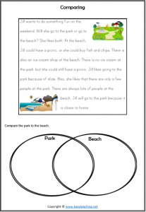 compare contrast reading passages beach park worksheet strategy comparing