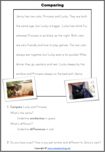 compare contrast reading passages cats worksheet strategy comparingcompare contrast