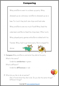 compare contrast reading passages worksheet strategy comparing