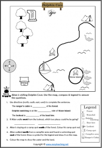 mapping skills worksheet direction compass