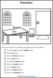 prepositions worksheet draw