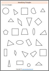 identifying triangles worksheet find triangles