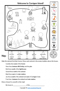 cardinal directions mapping skills worksheet island