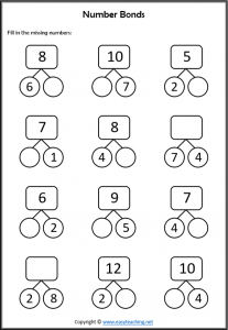 number bonds worksheets part part whole grade 1 year 2