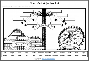 nouns verbs adjectives worksheet fun theme park picture