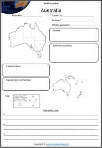 australia geography worksheets countries of world